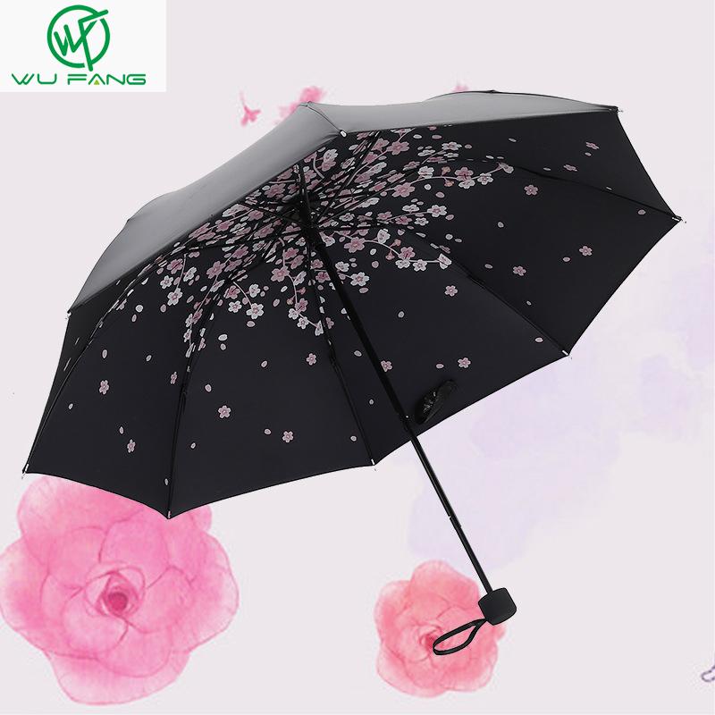 Rain Gear Summer Three-folding cherry black umbrel...