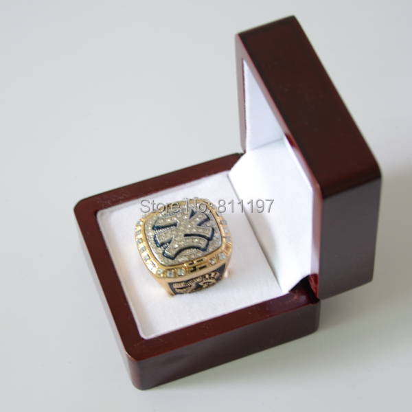 Gold Plated Alloy Squeeze Casting Replica Championship Ring 1999 New York Yankees NY World Series Wood Box - Stone Lion Jewelry Factory store