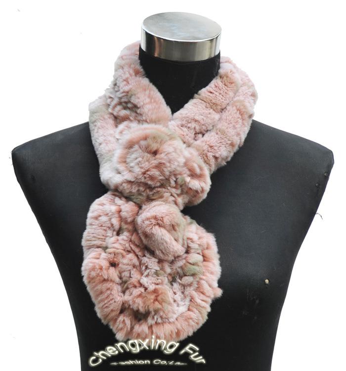 CX-S-145E/XX  Peach Hand Knitted Genuine Rex Rabbit Fur Fashion Scarf 2014(China (Mainland))