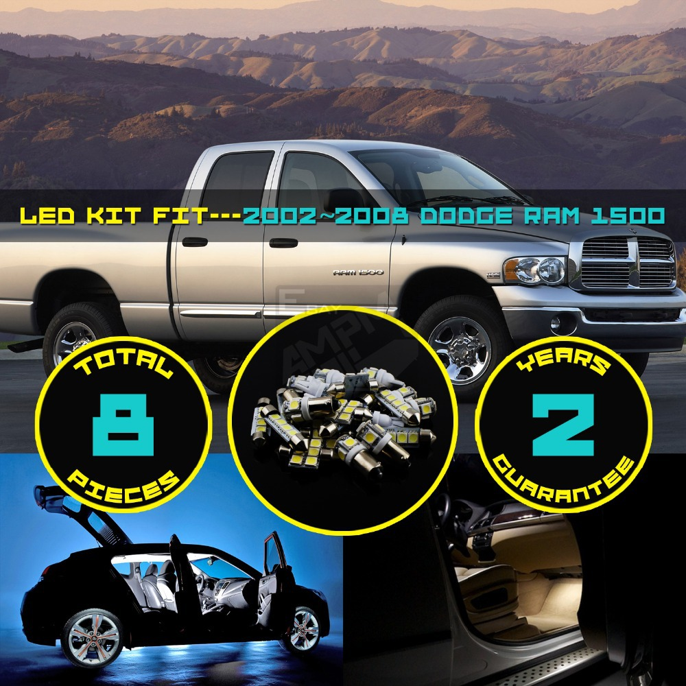 8x Car Truck Interior LED Kit Dome Map Reading License Plate Light Lamp For RAM 1500 2002~2008 White/Red/Crystal Blue/Pink #41(China (Mainland))