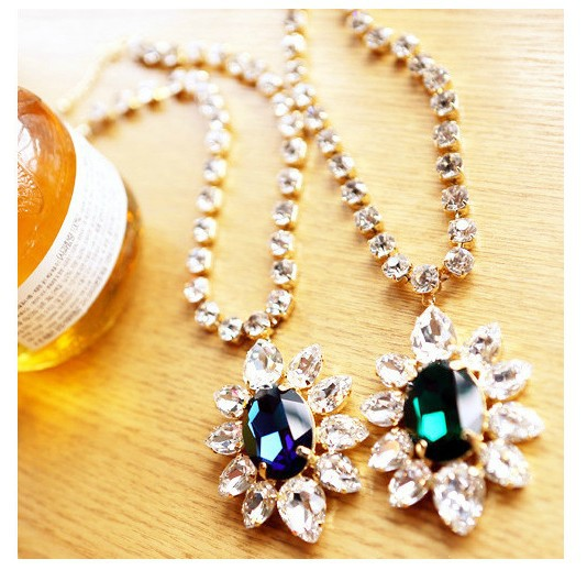New European Style Gold Plated Alloy Green/Blue Crystal Rhinestone Drop Statement Necklace 12pcs/lot(China (Mainland))