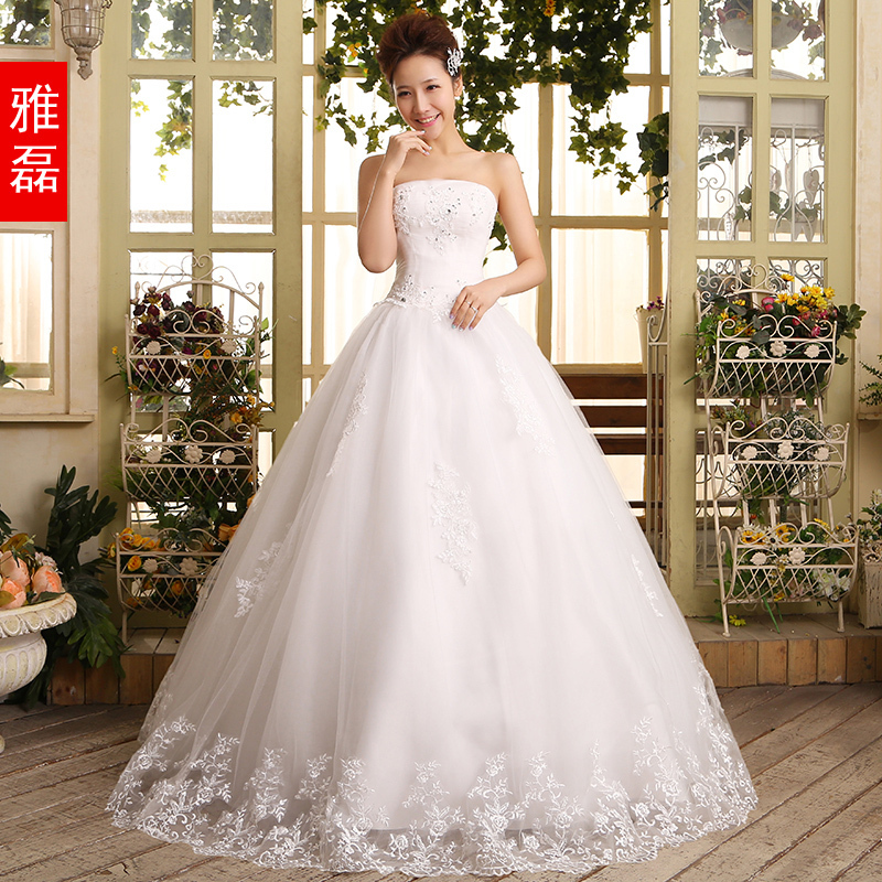 Free shipping2014 new lace white tube top wedding dress for Lace top plus size wedding dress