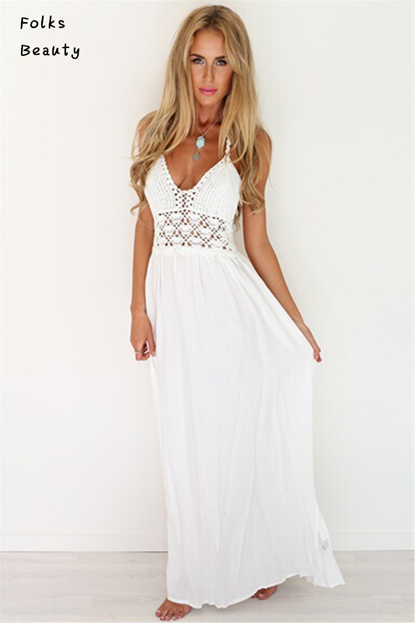 2015 chiffon women dress sleeveless v neck sexy white long maxi summer dress beach off the. Black Bedroom Furniture Sets. Home Design Ideas