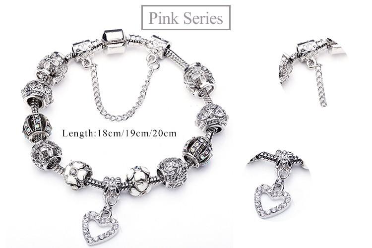 2015  Charms Beads fit Original bracelet 925 Silver Crystal  Beads Модный Bracelets & Bangles for Женщины PS3145