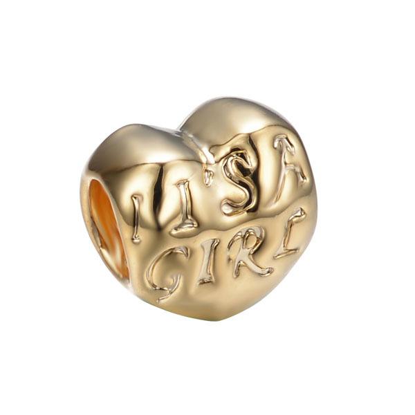 free shipping 5pcs/lot gold plated heart shape it is a girl bead charm fit European Pandora Charm Bracelets PB045(China (Mainland))