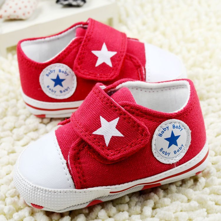 HOT 2015 new Red Big Velcro Baby Shoes Star Pattern Canvas Baby First Walkers Girls Boys Shoes For 0-12 Months Kids(China (Mainland))