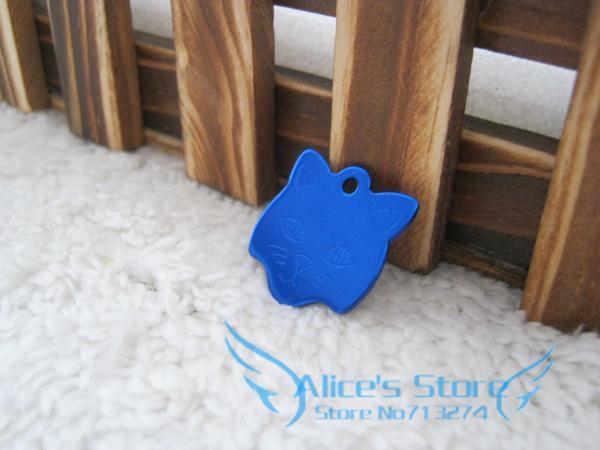 Free Shipping 50pcs/lot Creative cute mini cat head Dog/ Cat Tags Aluminum Customized Pet ID Ball Chains D505(China (Mainland))