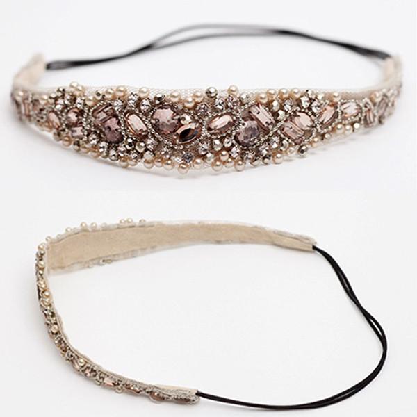 2015Women Crystal Beads Hairband Hair Accessories Headbands Wedding Hair Jewelry(China (Mainland))