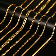 Meaeguet Gold Color Chains Necklaces With Stamp Men Jewelry Women Stainless Steel Snake Chain 24inch Wholesale