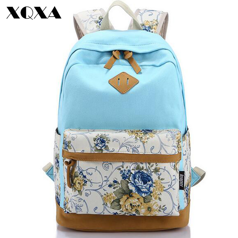 Canvas Match Nubuck Leather Satchel Rucksack Backpacks School Bags for Girls Female Mochila Escolar Printing Backpack