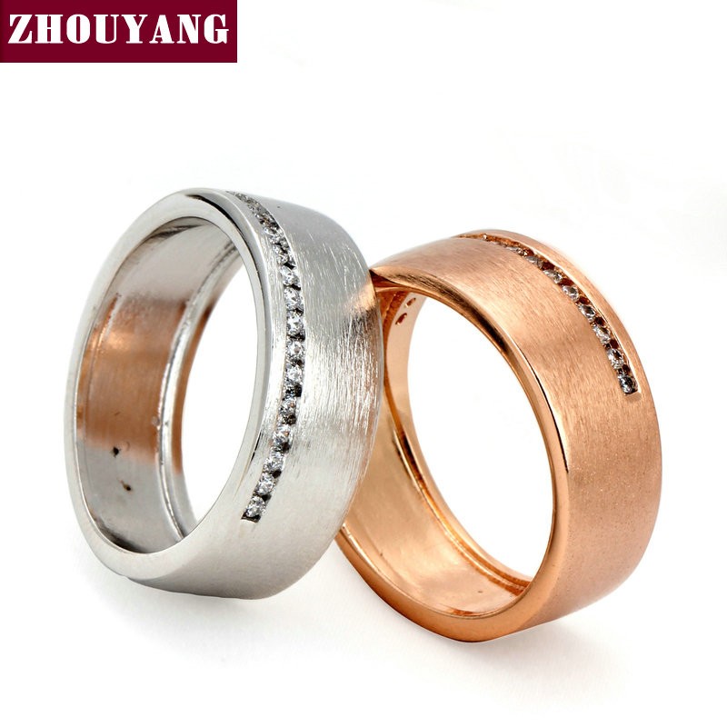 Top Quality Fashion Design Wire Drawing Process 18K Gold Plated Lover's Ring Austrian Crystal Full Sizes Wholesale ZYR378 ZYR379(China (Mainland))