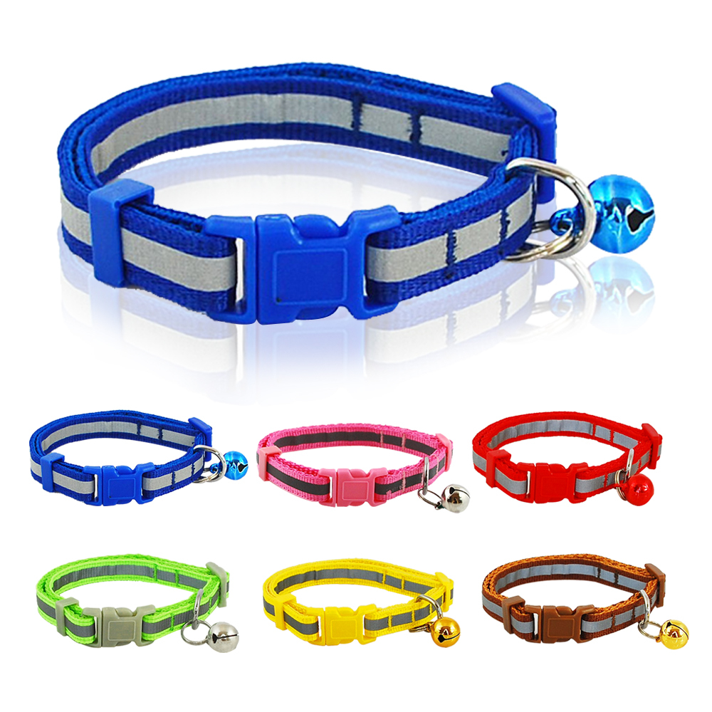 1.0cm Width Reflective Small Nylon Dog Puppy Cat Quick Release Collar with Bell(China (Mainland))