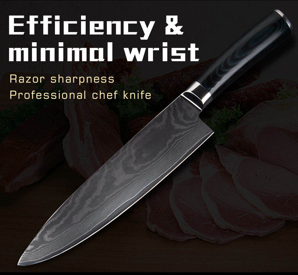 Buy Hot brand 8 inch cook's knife damascus kitchen knives high-grade gift tools VG10 damascus steel knife cheap