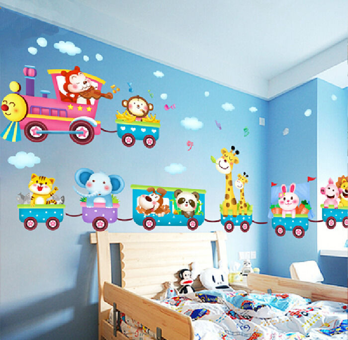 New Animals Train Wall Stickers Decor Baby Art Mural Removable Safe Vinyl ca1(China (Mainland))
