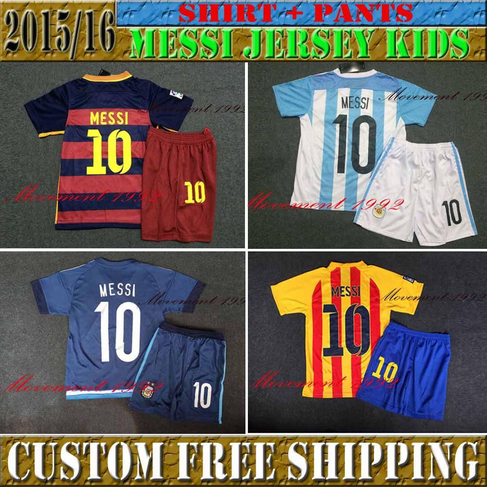 New 2016 Argentina Home / Away Kids Liga Cup +15/16 15 16 DIMARIA MESSI soccer jerseys youth football jerseys,Size: 16-28(China (Mainland))