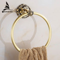 Free Shipping Wholesale And Retail Carving Antique Brass Wall Mounted Towel Ring Unique Design Bathroom Bath