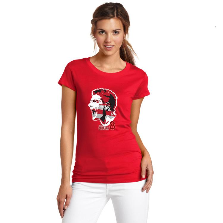 2017 Women Shouting Los Angeles Galaxy #8 Steven Gerrard Captain Portrait T-shirt Lady T Shirt Girl Red Army Legend W1110015