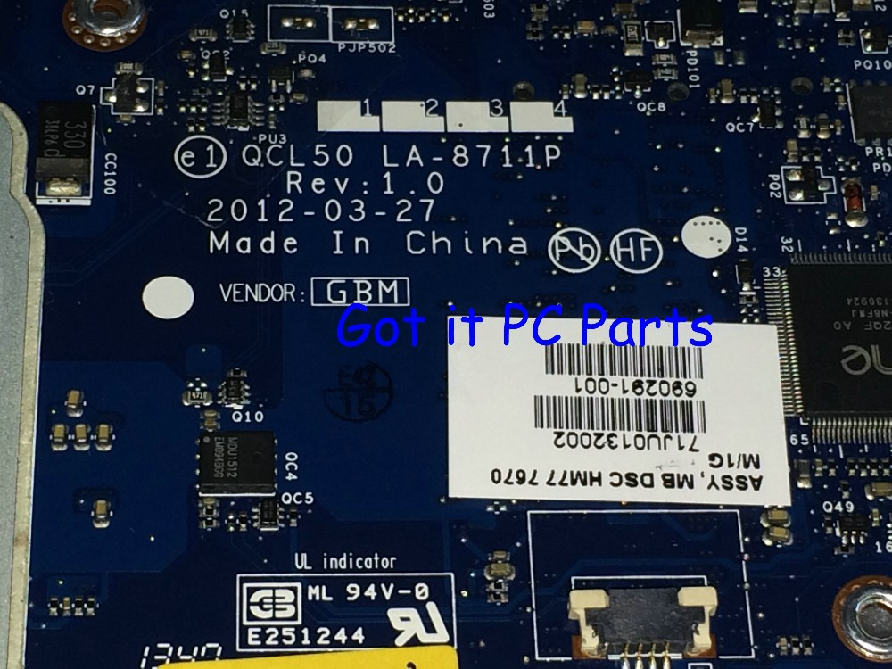 New !!! EMS DHL Free Shipping  QCL50 LA-8711P REV : 1.0 Mainboard Laptop motherboard for HP Pavilion M6 notebook pc  686929-001
