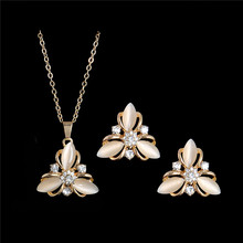 Fashion Wedding Jewelry Sets Gold plated Opal Stone Austrian Crystal Necklace Earrings(China (Mainland))