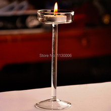 Glass candle holder European crystal high foot candlestick romantic dinner & home decoration the necessary free shipping(China (Mainland))