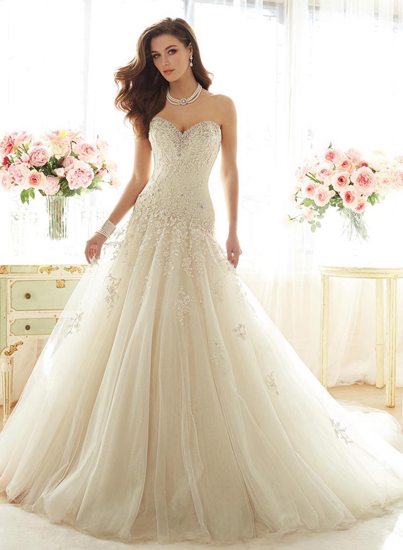 Temporada romântico sexy Strapless lace mermaid vestido de noiva com cristal 2016 New Arrival apliques completa vestido de noiva