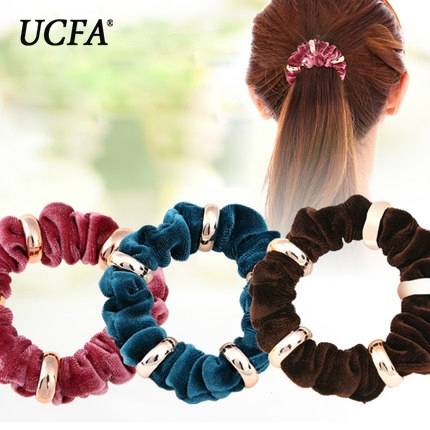 New Flash Velvet Elastic Hair Bands Wedding Bride Hair Accessories For Women Rubber Ring beam Headbands(China (Mainland))