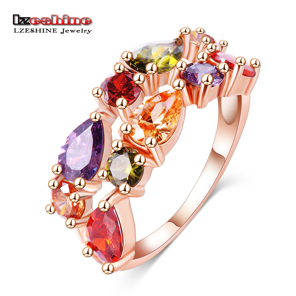 LZESHINE Wedding Ring Bands Bijouterie Finger Ring Rose Gold Color Colorful Austrian Zirconia 2016 Anillos CRI0242-A