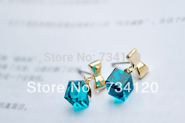 ER101 Austrian Crystal Delicate Blue Water Cubic Box Bow Earrings for women Beautiful Wholesales Free shipping(China (Mainland))