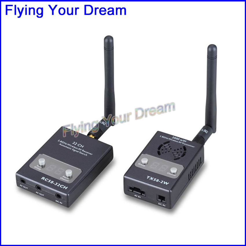 NEW Boscam FPV 5.8GHz 2000mw 32 Channels Wireless AV Transmitter TX58-2W and Receiver RC58-32CH For FPV system(China (Mainland))