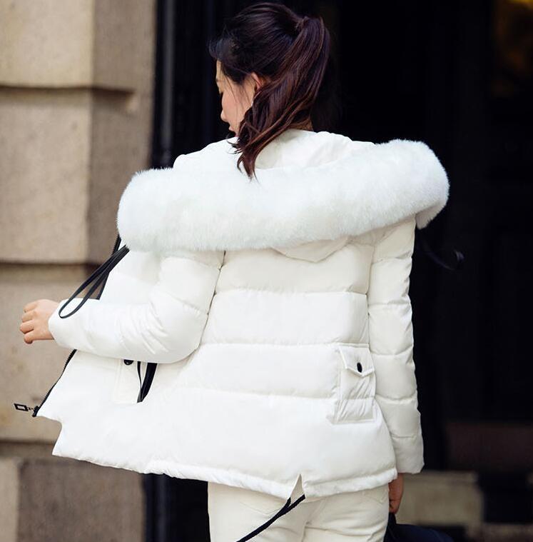 Скидки на Женская мода Зимняя Куртка Новый Большой Меховой Воротник Капюшоном Теплый куртки для Женщина Случайные Вниз Хлопка Женщин Пальто Мягкий И Пиджаки женский