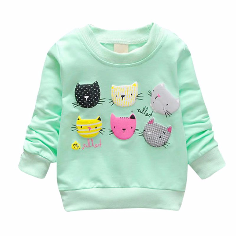 2017 Cartoon Cat Print Girls Sweatshirts Spring Casual Kids Clothes Long Sleeve Baby Girl Pullover Girls Clothing