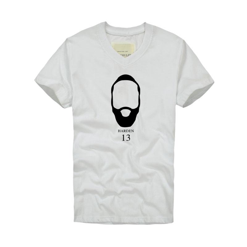 Summer Camisetas Basketball Star Houston James Harden Fear the Beard Cotton TShirts v Neck Men Short Sleeve Sports basket Shirt(China (Mainland))