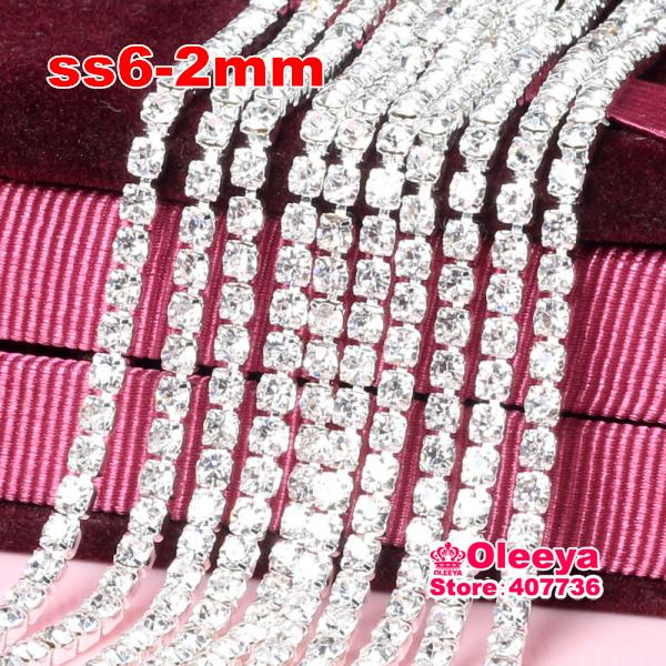 ss6  2mm 10 Yard Crystal Close Sew on Rhinestone Cup Chain Trim Metal Claw Sewing Rhinestone Trimming  For Women Dress Y2959(China (Mainland))