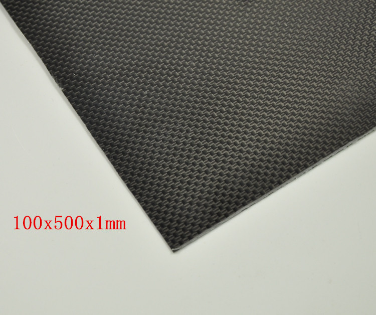 New 100x500x1mm RC Carbon Fiber Plate Panel Sheet 3K Plain Weave Glossy Surface(China (Mainland))