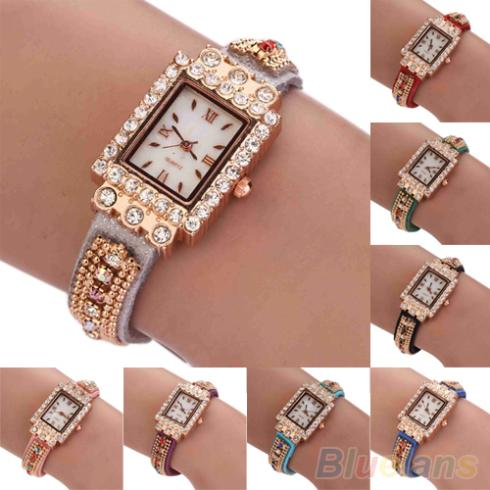 Гаджет  Woman Colorful Crystals Roman Numerals Square Case Bracelet Bangle Wrist Watch None Часы