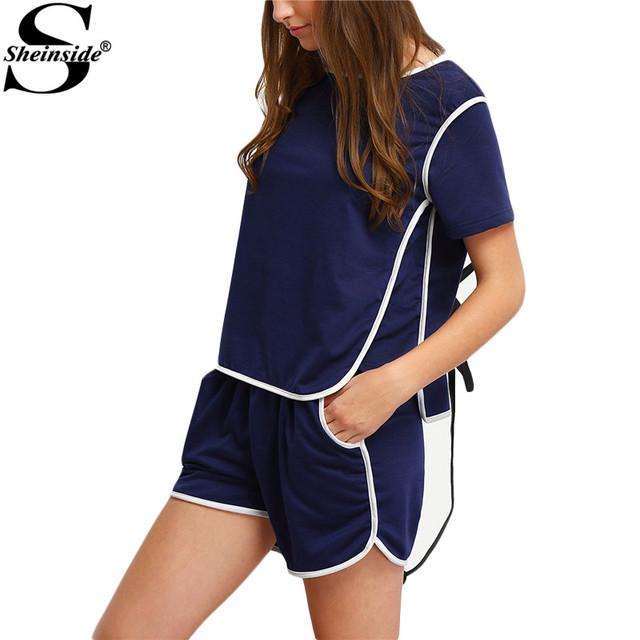 Sheinside 2016 летний стиль новое поступление спортивная одежда синий шею топ с шортами ...