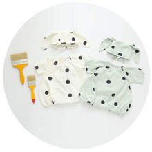 2016 summer infant romper with rabbit hatbaby boy and girl cotton & linen fabric polka dot jumpsuit kids children clothing(China (Mainland))