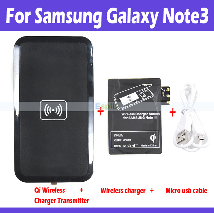 Qi Wireless Receiver+Black Qi Wireless Charger Charging Pad Adapter Set for Samsung Galaxy Note 3 N9000 with Micro UBS Cable