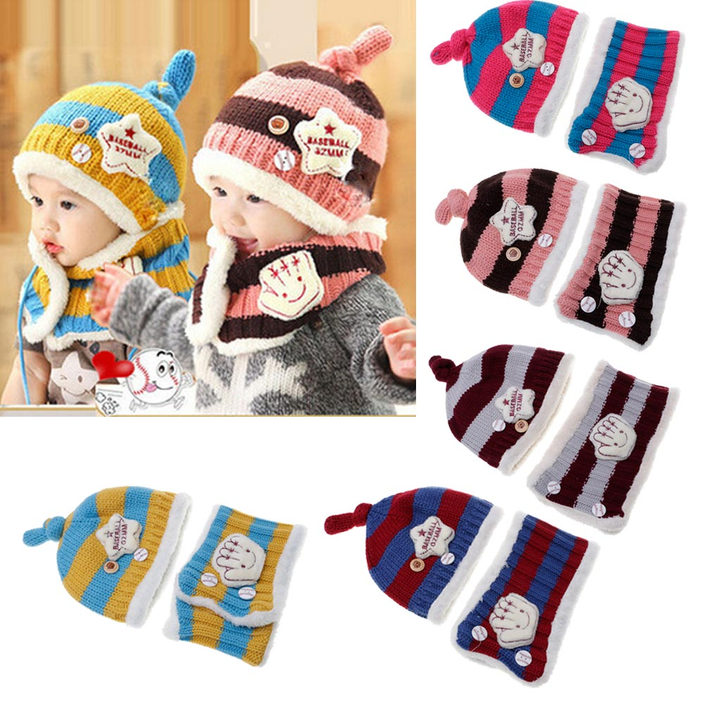 Baby Kids Unisex Knitted Hats Scarf Set Cute Winter Warm Beanie Hooded Scarf New