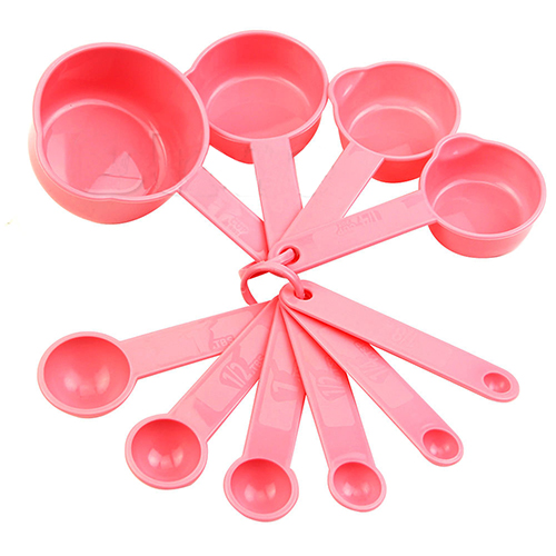 2015 Hot 10Pcs Baking Cup Spoon Set Tablespoon Measuring Tool Pink Kitchen Coffee Cooking 4V5G(China (Mainland))