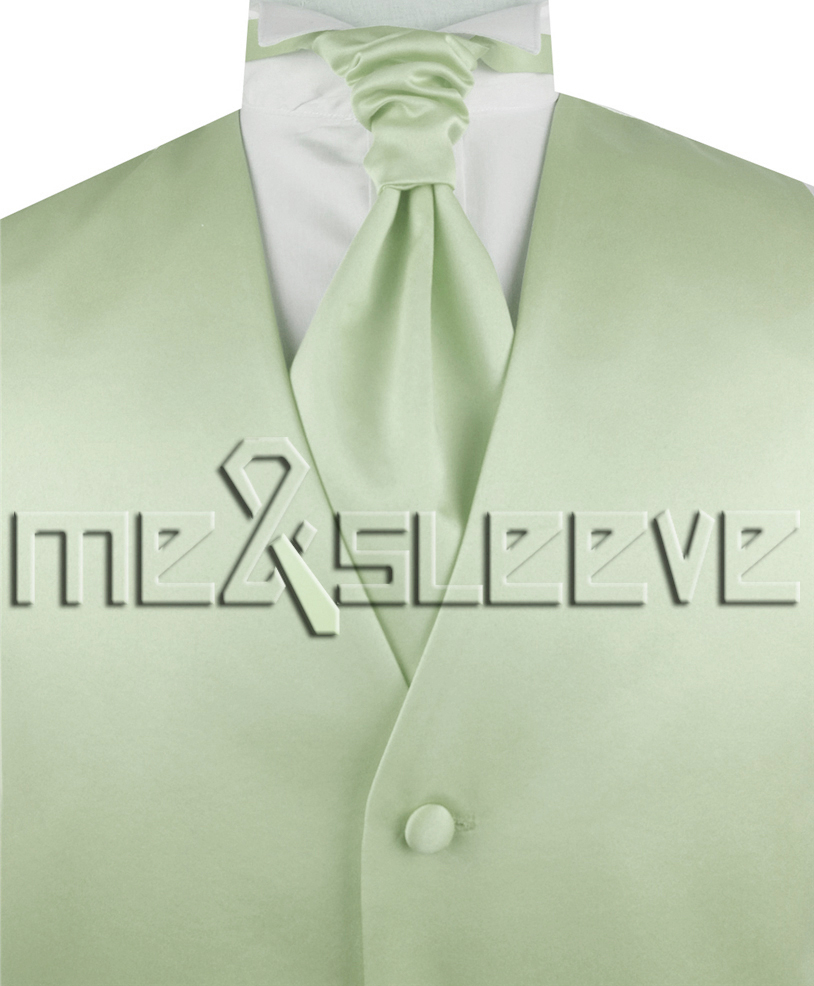 541065fabda hot sale free shipping solid light peak green suit waistcoat(vest+ascot  tie+cufflinks+handkerchief)