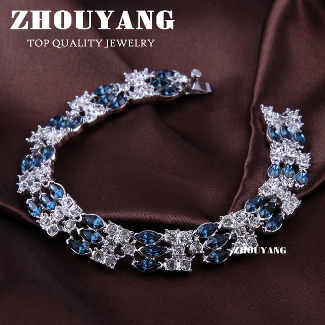 Top Quality ZYH016 18K White Gold Plated Bracelet Jewelry   Austrian Crystal Wholesale
