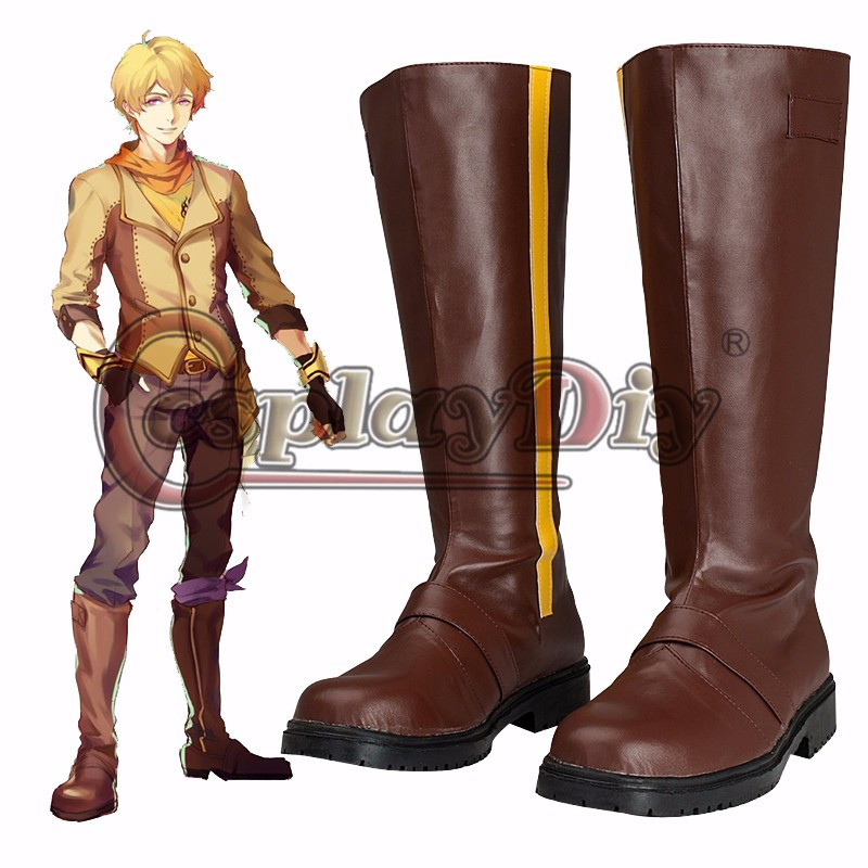 New RWBY Boots Custom Made Yang Xiao Long Cosplay Boots Mens Halloween Carnival Party Cosplay Shoes(China (Mainland))
