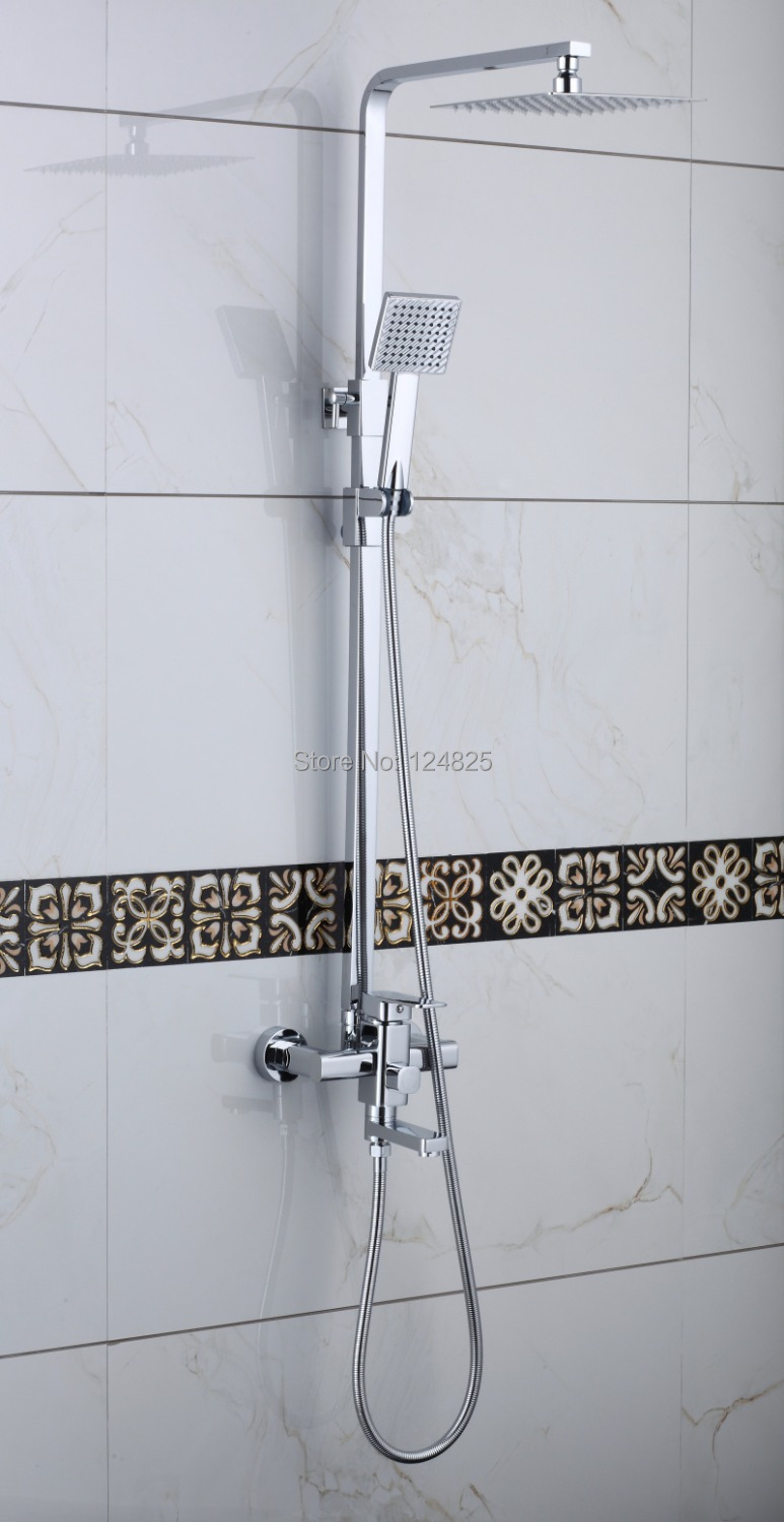 High Quality Chrome Bathroom Shower Faucets Sets Mixers Taps Whole Set Bath L