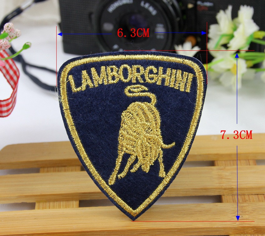 Free Shipping 10 pcs/Lot 6.3*7.3cm car logo Iron On Embroidered Patch Appliques DIY bag clothing patches Applique Badges(China (Mainland))