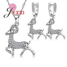 JEXXI Creative Jewelry Gift For Women Fashion Silver Necklace Earring Set Promotion Cute Animal Flying Goat Pendant Low Price(China (Mainland))