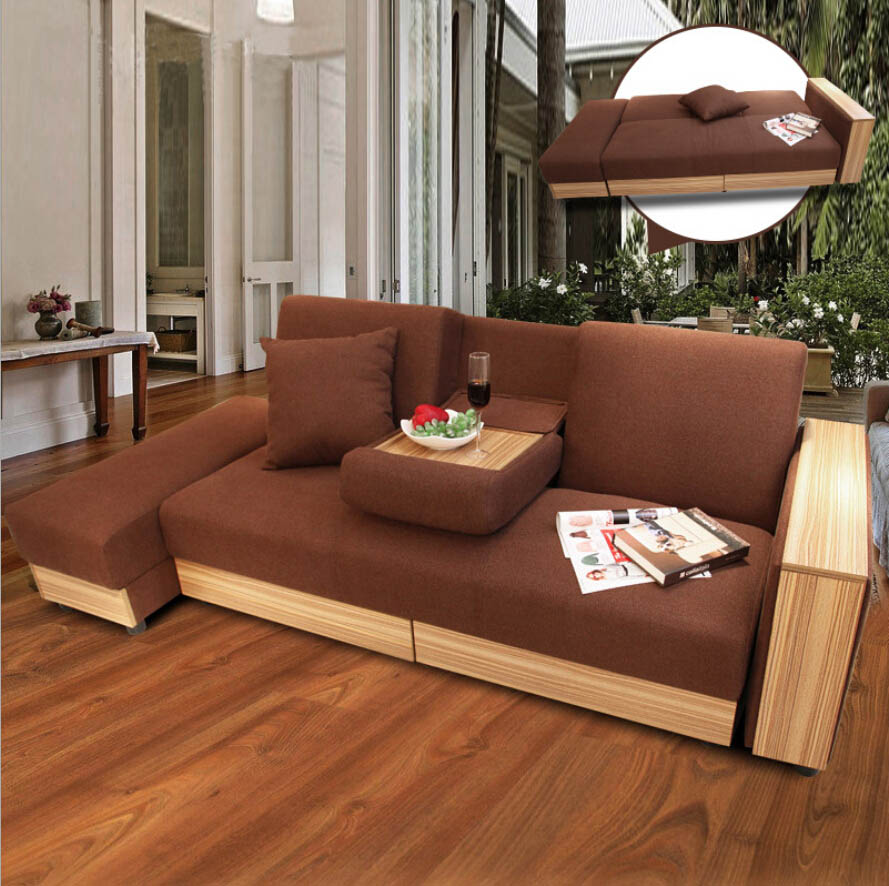 Webetop Modern Luxury Sofa Bed Multi-function Home Furniture Assembled Sofa & Bed Set with Double Drawers Wooden Furniture Set(China (Mainland))