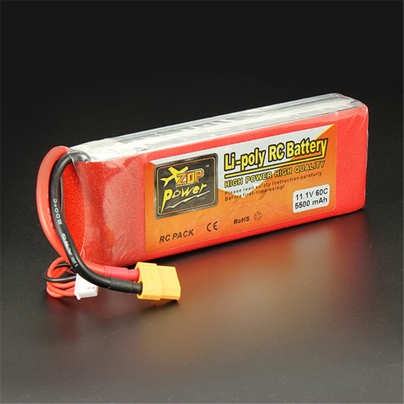 Best Deal ZOP Power 11.1V 5500mAh 3S 60C Lipo Battery XT60 Plug Rechargeable Lipo Battery RC Battery For RC Helicopter Part(China (Mainland))