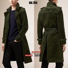Hot Fashion Show Men's coat Spring 2015 new European American simple Slim long sleeved corduroy Trench coat jacket Size S-XXXL(China (Mainland))