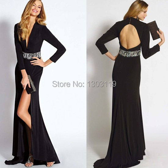 New Arrivals Sexy V Neck Open Back Slit A Line Long Sleeves Evening Dress Dubai 2016 Made in China(China (Mainland))